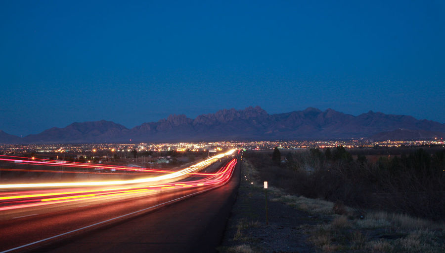 Beauty In Nature City Lights Clear Sky Highwayphotography Illuminated Landscape Las Cruces Light Streaks Mountain View New Mexico Night Lights Organ Mountains Outdoors