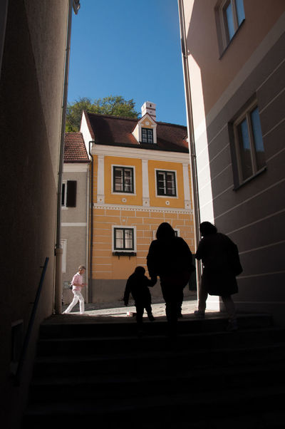 Shadow Architecture Walking Outdoors Adult Staircase Building Rear View