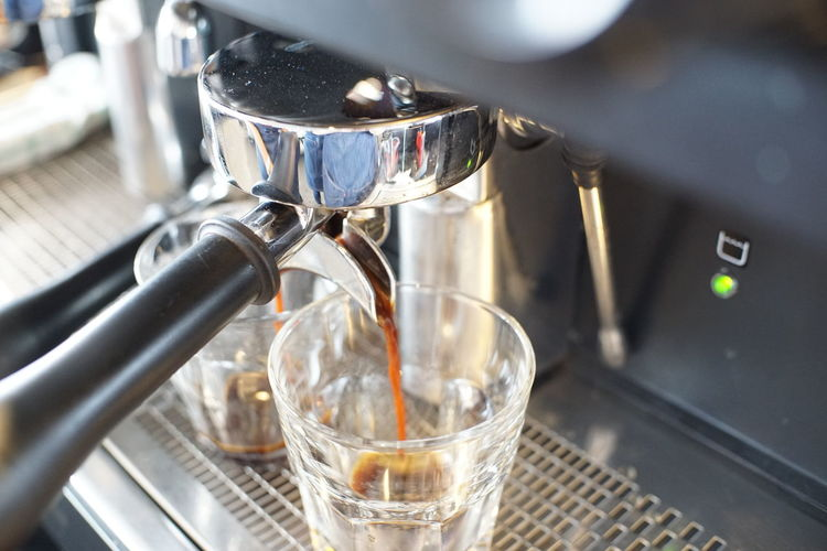 Coffee making step. Shot Food And Drink Coffee Coffee - Drink Coffee Maker Indoors  Espresso Maker Appliance Machinery Coffee Shop Espresso Machine Coffee Machine Thailand Hot Glass Cafe