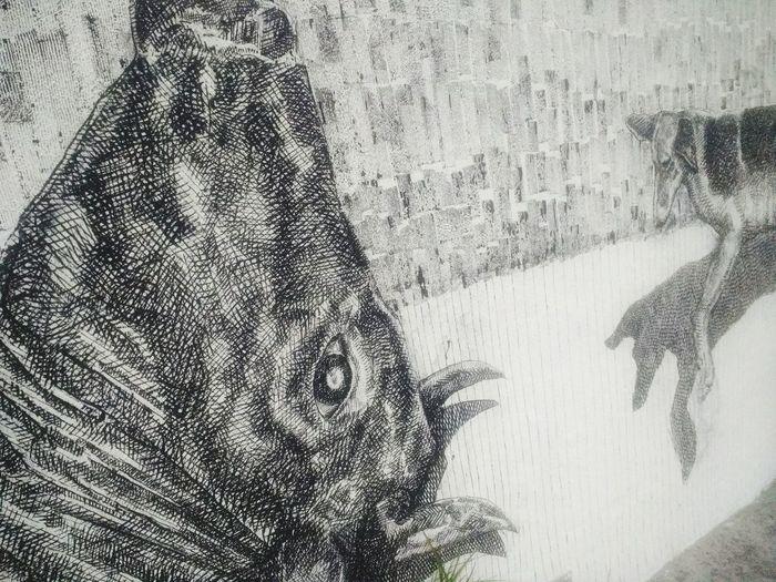 Mural Art Quito Black & White Trazos Bull&dog