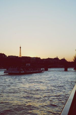 Sunset Water Travel Destinations City Nautical Vessel Outdoors Scenics Beauty In Nature Bridge - Man Made Structure Sky Day Paris, France  Tour Eiffel Sea Ferris Wheel No People Nature