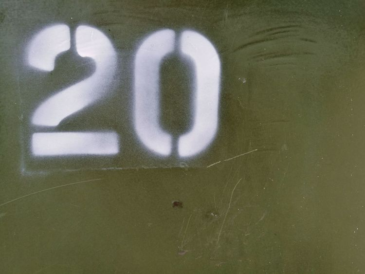 White Green Western Script 20 Number Spray Paint Spray Painted Stencil Cabinet Part Of No People Space For Text Off Centre Off Center Backgrounds Close-up Rough Number