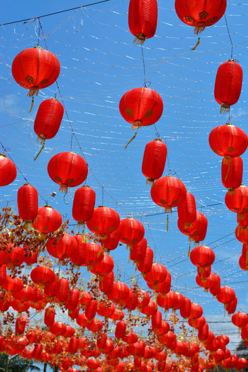Chinese lanterns hung on the streets of solo, central java during the chinese new year 2020