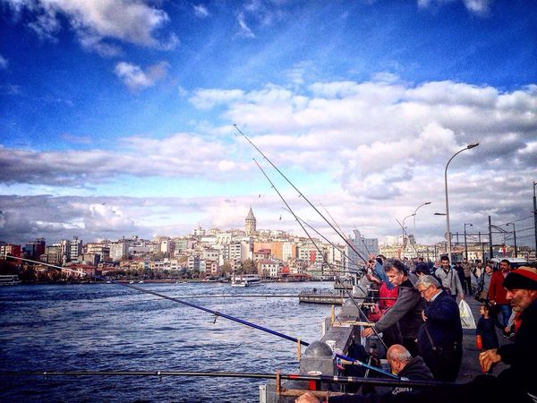 Haliç kıyısında.. Istanbullife Sea Travel Destinations People View Tourism İstanbul Remembrance Gazonungözü Myworld Voyager Autumn Colors Fisherman Sky
