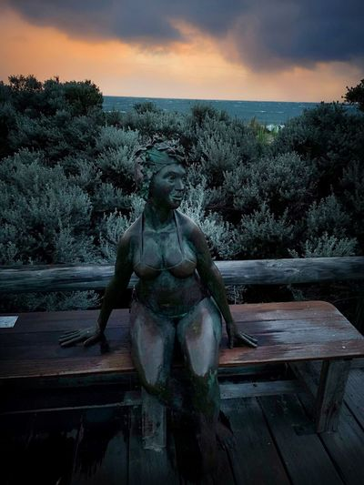 Eyeem thinks this a model and wants me to get permissions. It's a statue in a public walkway. Silly Eyeem. / Ready to swim in any weather, but never in the sea. Bather's Beach Bather Bather's Beach House Water Statue Sculpture Tree Sky Cloud - Sky Female Likeness Human Representation