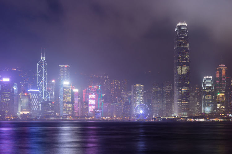 Misty Hong Kong Hong Kong Hong Kong City Hong Kong Harbour Hong Kong Skyline Hong Kong Architecture HongKong Victoria Harbour Architecture Building Building Exterior Built Structure City Cityscape Financial District  Illuminated Modern Night Office Building Exterior Sky Skyscraper Tall - High Tower Tsim Sha Tsui Urban Skyline Water