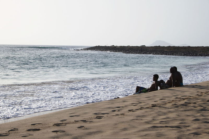Beach Capo Verde Clear Sky Day Horizon Over Water Lifestyles Men Outdoors Real People Sal Island Sand Santa Maria Sea Shore Sitting Summer 2015 Water Wave