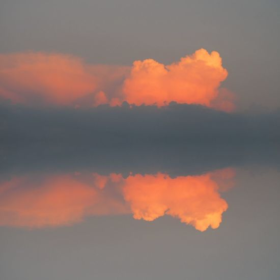 Clouds And Sky Reflection Red Grey Sunset Sky