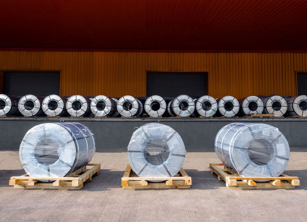 Steel coils preparation and make sure secured before stuffing in containers, Container Logistics Secured Architecture Automotive Bedding Building Exterior Coil Day Dunnage Export Factory Gavanize Import Industry Material No People Outdoors Pallets Prepare Shipping  Steel Stuffing Unstuffing Warehouse