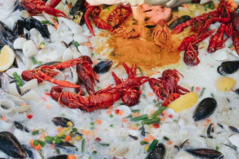 Abundance Crustacean Food Sea Food Seafood Market Full Frame Backgrounds Close-up Prepared Food Served Fish Market Serving Size Shrimp For Sale Crab - Seafood Shrimp - Seafood Market Stall Lobster Textured  Various Crab Display
