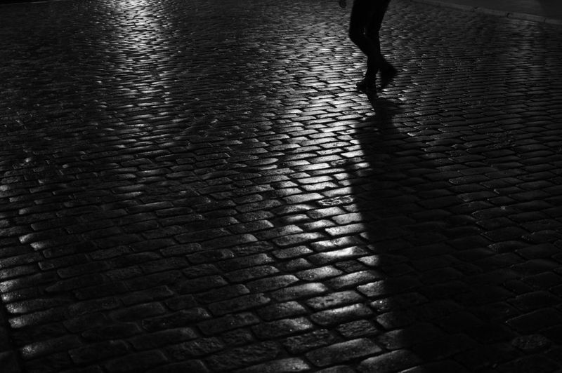Poland Warsaw Europe Street Low Section Cobblestone Human Body Part Walking Body Part City Human Leg Lifestyles Real People Footpath High Angle View Unrecognizable Person Night One Person Pattern Stone Outdoors Paving Stone Human Limb