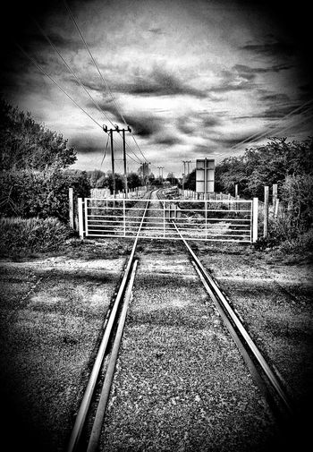 Cloud - Sky Cloudy Diminishing Perspective Disusedrailways Landscape Railroad Track Tranquil Scene Vanishing Point
