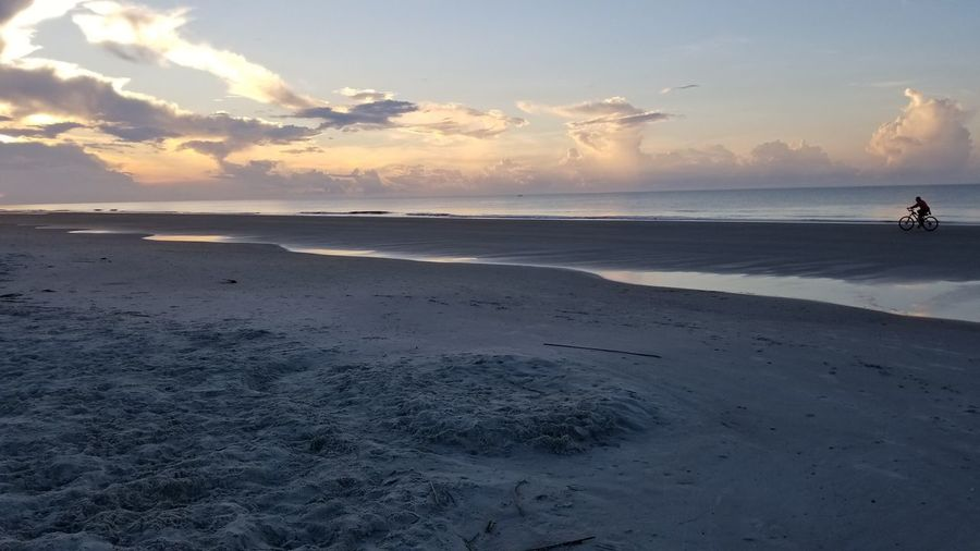 Ocean Bicycle Biking One Person Hilton Head Island, SC Sunrise Sky Pastel Colors Low Tide Beach Sand Seascape Calm
