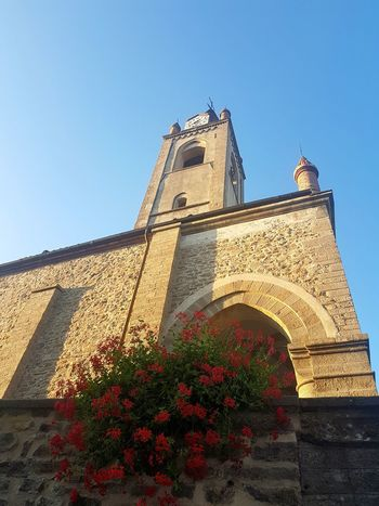 Architecture Clock Tower History Building Exterior Built Structure Low Angle View No People Outdoors Day Clear Sky Clock Sky Clock Face Geranium Alta Langa Old Church Piedmont Italy