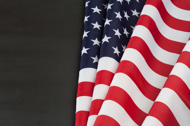 Close-Up Of American Flag On Table