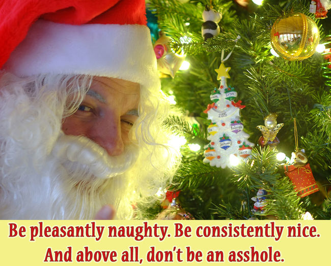 Santa offers some words to live by. Advice Art And Craft Bizarre Choice Christmas Close-up Creativity Culture Cultures Dressing Up As Santa Front View Good Deed Head And Shoulders Headshot Indoors  Irreverent Lifestyles Looking At Camera Mystical Person Portrait Real People Santa Claus Waist Up Words To Live By