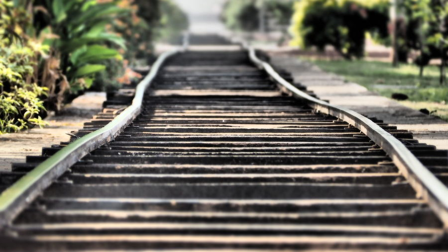 Surface level of railroad tracks