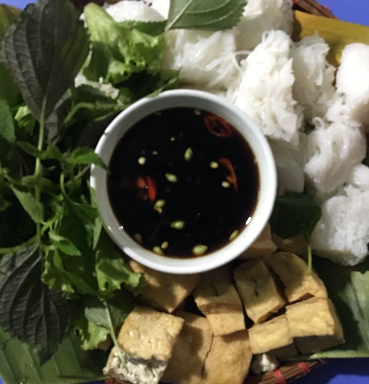 food and drink, food, freshness, bowl, directly above, healthy eating, ready-to-eat, high angle view, wellbeing, close-up, no people, indoors, leaf, plant part, still life, asian food, vegetable, serving size, nature, sauce, japanese food