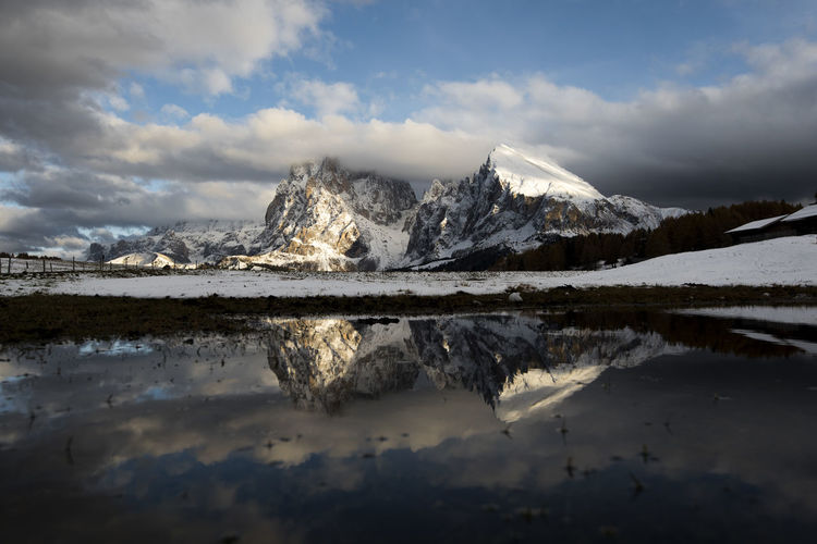 Cloud - Sky Sky Water Reflection Beauty In Nature Tranquility Mountain Lake Tranquil Scene Scenics - Nature Cold Temperature Nature No People Waterfront Snow Winter Day Non-urban Scene Snowcapped Mountain