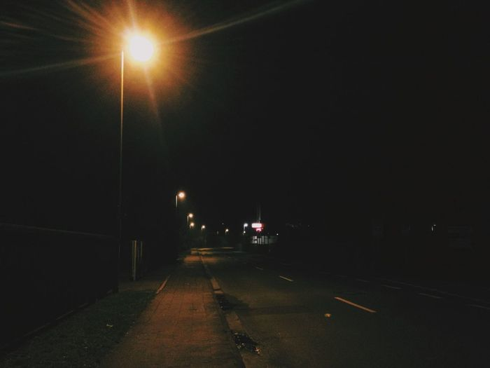 Nighttime Light Empty Places Road