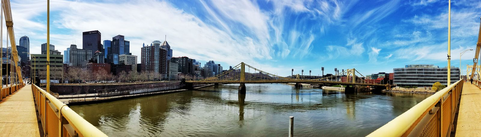 A view of downtown Pittsburgh from the 9th Street bridge. Panaromic Urban Landscape Cityscape Panaromic View