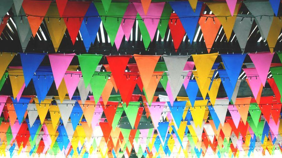 Full frame shot of multi colored buntings