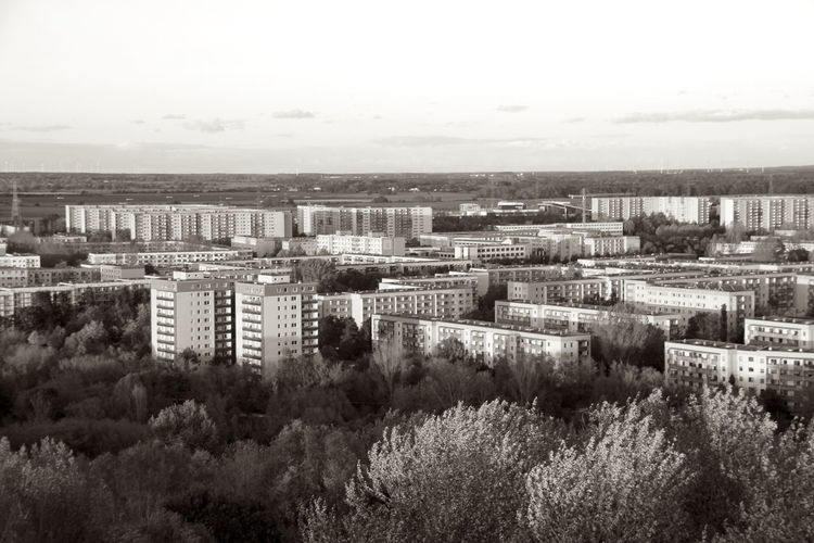 Berlin Hellersdorf Ost-Berlin Plattenbau Architecture Building Building Exterior Built Structure City Cityscape Cloud - Sky Day Environment Field High Angle View Horizon Landscape Monochrome Nature No People Outdoors Plant Residential District Sky Tree