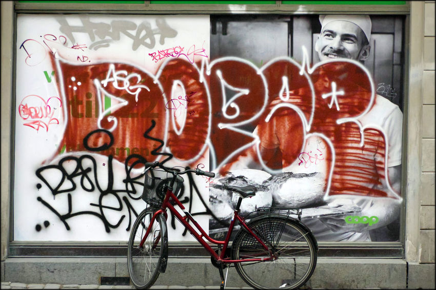Art Bike Billboard Close-up Day Graffitti Hoarding Multi Colored No People Outdoors Parked Stationary Stockholm Streetphotography
