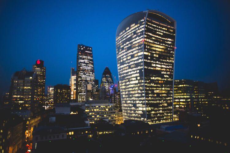 Architecture Urban Skyline Skyscraper Building Exterior City Modern Night Blue Cityscape Futuristic Sundown London