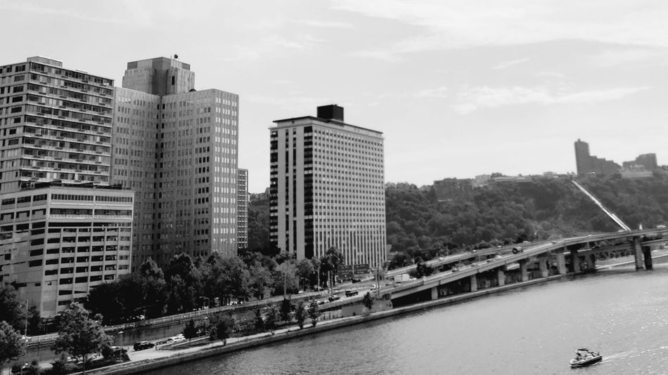 Pennsylvania Pittsburgh Water Bridge - Man Made Structure Business Finance And Industry Black And White B&w Photography Nautical Vessel Boat Travel Destinations City Cityscape Urban Skyline Skyscraper Tree Modern Bridge - Man Made Structure River Sky Architecture Office Building Tall - High Downtown District Office Building Exterior The Great Outdoors - 2018 EyeEm Awards The Architect - 2018 EyeEm Awards