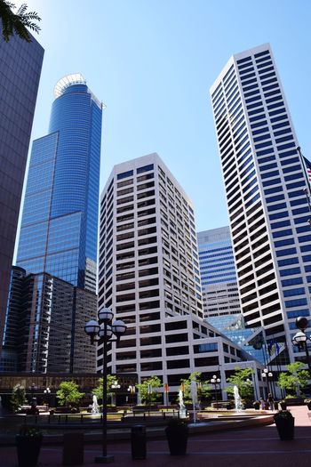 Skyscraper Modern Architecture City Cityscape Downtown District Urban Skyline Built Structure Building Exterior Business Finance And Industry Low Angle View Office Building Exterior Office Blue Travel Destinations No People Sky Outdoors Day Illuminated Minneapolis Capella Tower