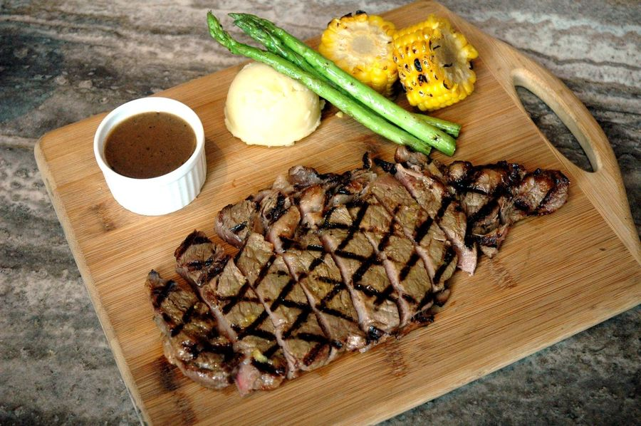 Beef Eyeem Philippines Eyeem Philippines Album Beefsteak Close-up Cutting Board Day Directly Above Food Food And Drink Freshness Healthy Eating High Angle View Indoors  Indulgence No People Ready-to-eat Ribeye Ribeye Steak Steak Table Vegetable Wood - Material
