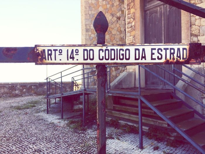 Cascais Portugal Stairs Blue Paint Signage Fence Door Raw Rough Rusty Old Buildings Abandoned