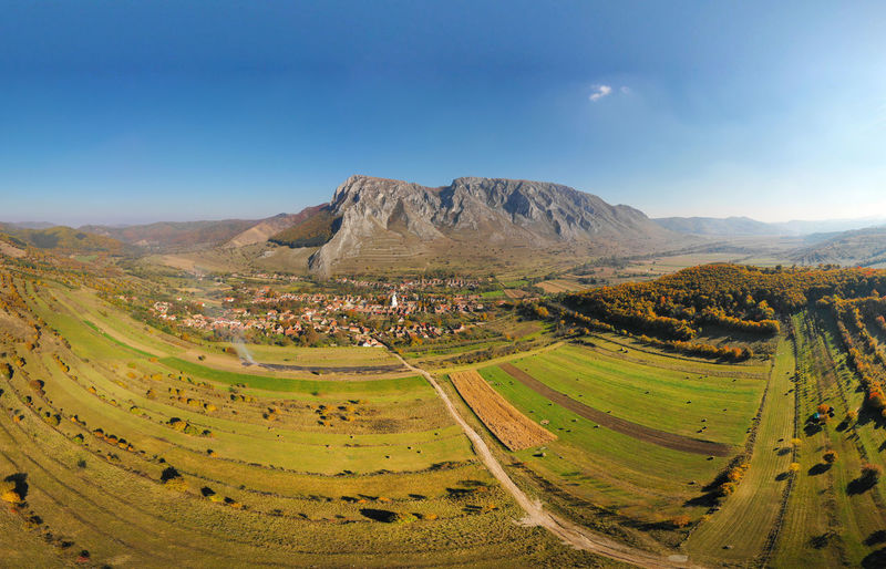 Aerial drone panorama image of Piatra Secuiului (Szekelyko) mountain and Rimetea (Torocko) village in Transylvania, Romania Landscape Tranquil Scene Environment Scenics - Nature Mountain Beauty In Nature Tranquility Sky Non-urban Scene Idyllic No People Nature Land Rimetea Torocko Romania Transylvania Panorama 360 Panorama 360° Drone  Dronephotography Aerial Aerial Shot Droneshot