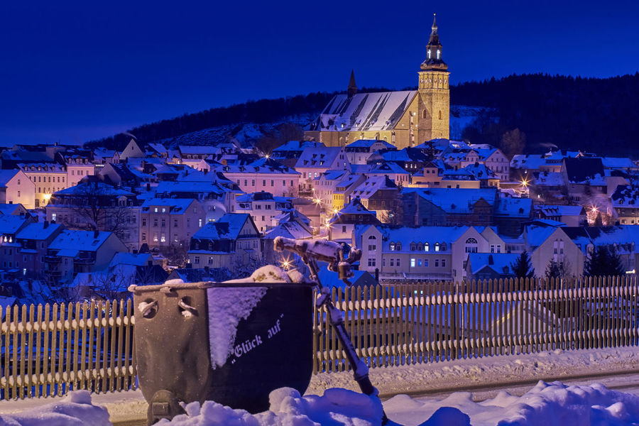 Schneeberg Erzgebirge Nachtfotografie SONY A7ii Architecture Blue Building Exterior Built Structure Christmas City Cityscape Cold Temperature History Illuminated Langzeitbelichtung Mountain Night No People Outdoors Sachsen Schneeberg Sky Snow Town Untertage Winter