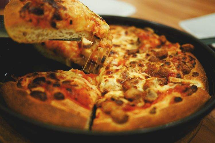 Close-up of pizza in plate
