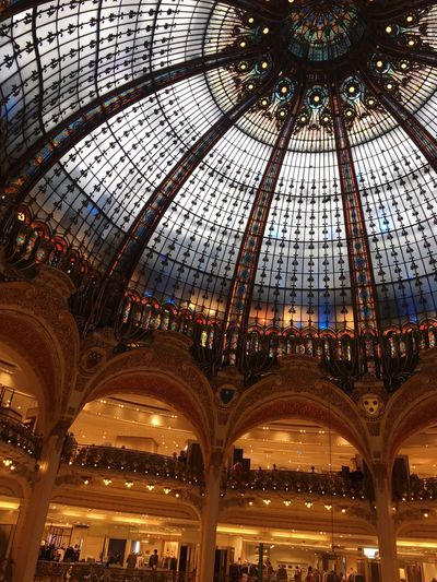 Galleries Lafayette Paris Architecture Built Structure Indoors  Architectural Feature Ceiling Dome Travel Destinations City Illuminated No People Day Light Art