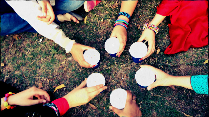 Bonding Casual Clothing Chears Different Drink Friends Friendship High Angle View Outdoors Relaxation Sitting Summer Togetherness Unique