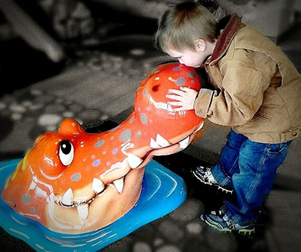 Boy Play With The Animals Kisses Dental Office Crocodile Pretendplay Makebelieve Side View Childhooddays Fearless