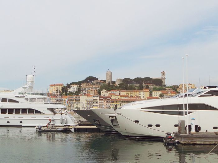 Cannes Cannes, France Côte D'Azur France Architecture Building Exterior Built Structure City Day Mode Of Transport Nautical Vessel No People Old Castle Outdoors Sea Sky Transportation Water Waterfront Yacht