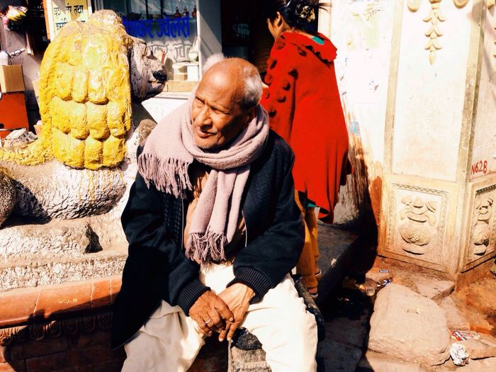 Elderly Man Old Man Local Local People Local Market Nepal Buddhist Temple Kathmandu Localmarket