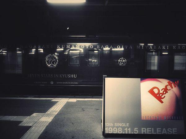 "Platform 4, Nagasaki Station. Cruise train ""Seven Stars in KYUSHU with AlbumArt Fukuyama Masaharu Night Photography / GX1 50mm 1.4 Handheld de Good Night"