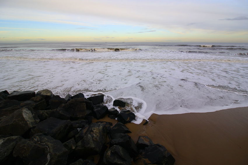 OUT AND ABOUT IN HARTLEPOOL Sea Water Sky Beach Scenics - Nature Beauty In Nature Land Rock Motion Cloud - Sky Horizon Over Water Horizon Solid Sunset Rock - Object Wave Nature Tranquil Scene Aquatic Sport No People Outdoors