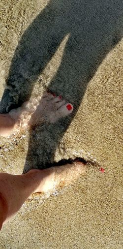 Feet Red Nails Shadow Salento Sea Clear Water Low Section Beach Shadow Sand Sunlight Tire Track High Angle View Pattern Close-up FootPrint Sandy Beach