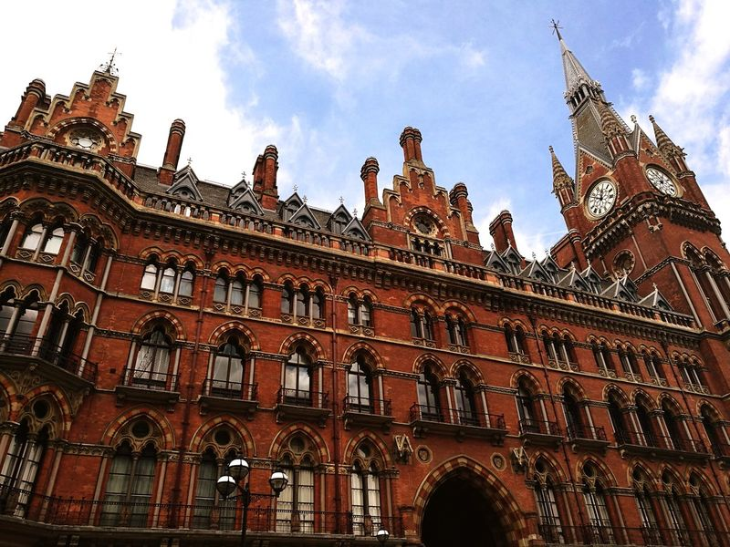 Low Angle View Architecture Gothic Style Travel Destinations Cloud - Sky Arch Sky No People Statue Politics And Government Day Building Exterior Outdoors Clock Face HuaweiP9 London St Pancras Station St Pancras International