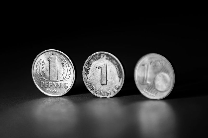 euro cent and ddr pfennig and german pfennig Finance Coin Wealth Currency Business Close-up Indoors  Number No People Still Life Economy DDR GDR Pfennig Central Park Developemet Berlin Old Tme Socialism Ddr-pfennig Brd-pfennig Gdr-pfennig Europe