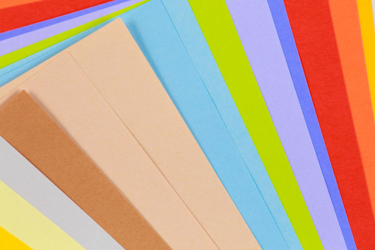 Full frame shot of colorful blank papers