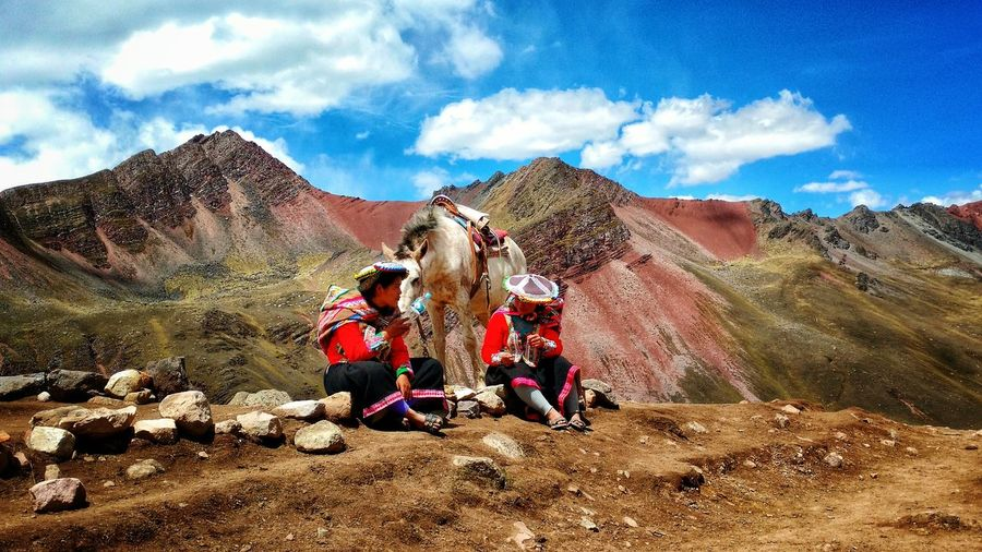 Sky Cloud - Sky Outdoors Day Nature Real People Arid Climate Mountain Travel Destinations Scenics Beauty In Nature Landscape Salt - Mineral People APU Montain And Sky Horse Perù 🇵🇪