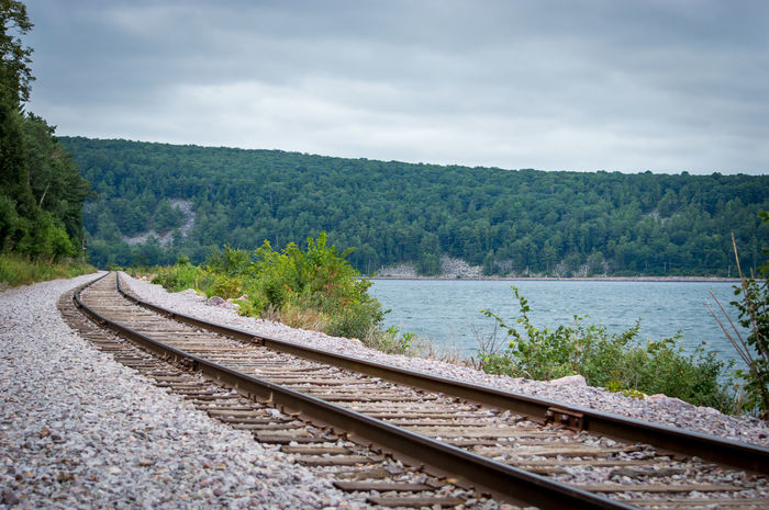 Devils Lake State Park High Resolution Abstract Background Beauty In Nature Curved Road Day Devils Lake Wi Growth Landscape Nature No People Outdoors Rail Transportation Railroad Track Scenics Sky Transportation Tree vanishing point Wallpaper Water