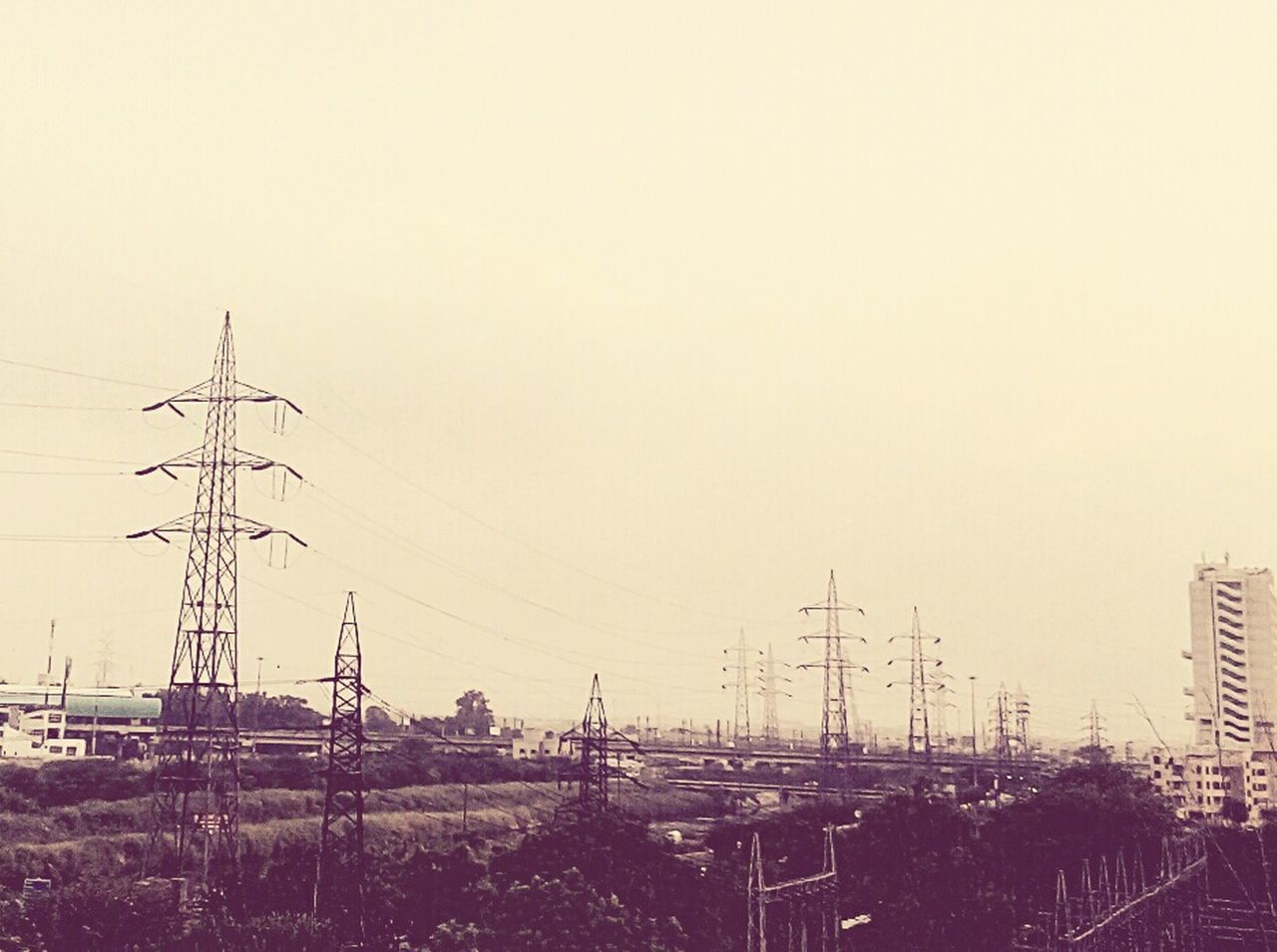 connection, electricity pylon, cable, electricity, power supply, no people, power line, outdoors, fuel and power generation, day, technology, sky, clear sky, nature, city